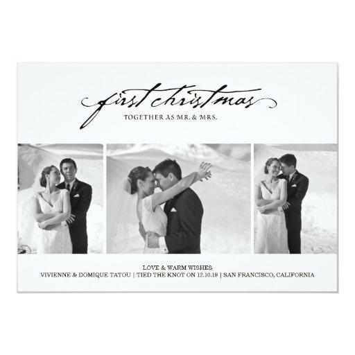 """Primer navidad como Sr. y señora Holiday Photo Car Invitación 5"""" X 7"""""""