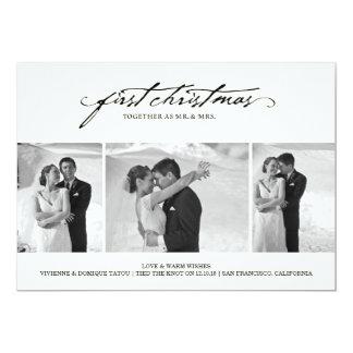 """Primer navidad como Sr. y señora Holiday Photo Invitación 5"""" X 7"""""""