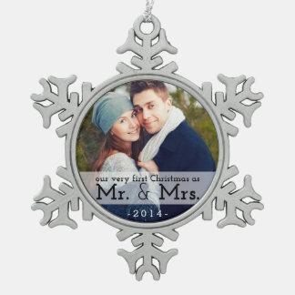 Primer navidad como Sr. y señora Keepsake Ornament Adorno De Peltre En Forma De Copo De Nieve