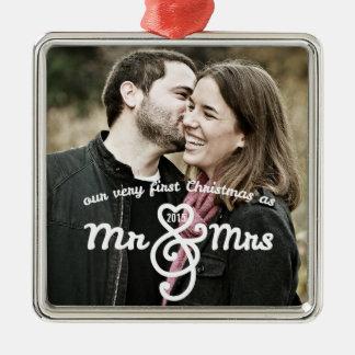 Primer navidad como Sr. y señora Keepsake Ornament Adorno Navideño Cuadrado De Metal