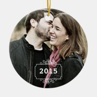 Primer navidad como Sr. y señora Keepsake Ornament Adorno Navideño Redondo De Cerámica