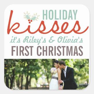 Primer navidad como Sr. y señora Photo Holiday Pegatina Cuadrada
