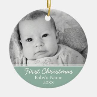 Primer navidad de Babys Adorno Navideño Redondo De Cerámica