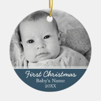 Primer navidad de Babys Adorno Redondo De Cerámica