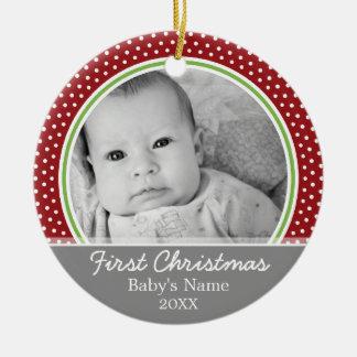 Primer navidad de Babys - lunares Adorno Redondo De Cerámica