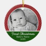 Primer navidad de Babys - lunares rojos Adorno Redondo De Cerámica
