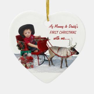 Primer navidad de la mamá y del papá conmigo. Orna Ornaments Para Arbol De Navidad