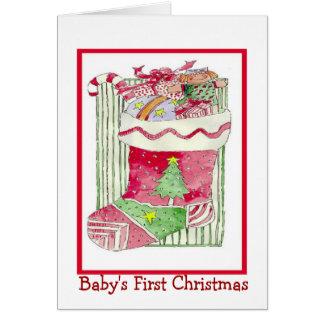 Primer navidad de la niña - tarjeta de felicitació