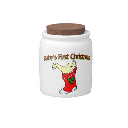 Primer navidad de los bebés jarras para caramelos