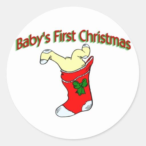 Primer navidad de los bebés pegatina redonda
