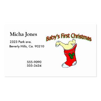 Primer navidad de los bebés tarjetas de visita