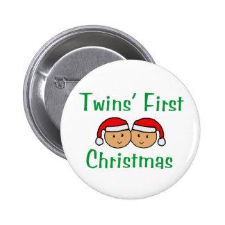 Primer navidad de los gemelos - gorras de Santa (n Pin Redondo 5 Cm
