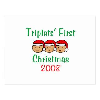 Primer navidad de los tríos - gorras 2008 de Santa Tarjetas Postales
