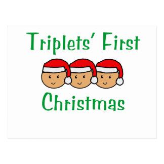 Primer navidad de los tríos - gorras de Santa Tarjetas Postales