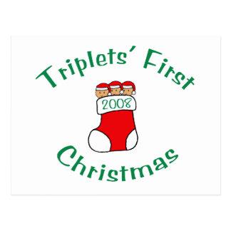 Primer navidad de los tríos - media 2008 tarjetas postales