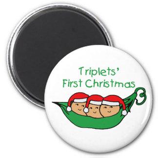 Primer navidad de los tríos - vaina (ninguna fecha imán redondo 5 cm