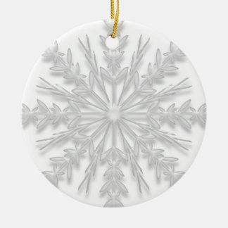 Primer navidad del copo de nieve en el nuevo adorno navideño redondo de cerámica