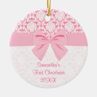 Primer navidad del damasco del arco rosado elegant ornamente de reyes