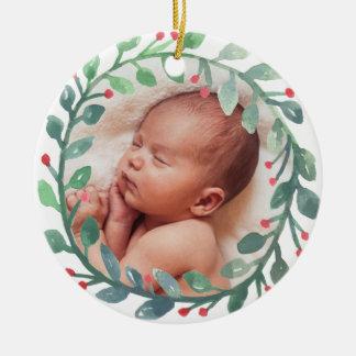 Primer navidad del ornamento el | del navidad del adorno navideño redondo de cerámica