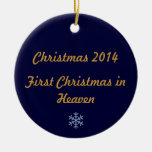 Primer navidad en el cielo 2014 adorno redondo de cerámica