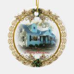 Primer navidad en el nuevo ornamento casero adorno redondo de cerámica
