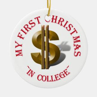 Primer navidad en la universidad - muestra de adorno navideño redondo de cerámica
