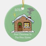 Primer navidad en nuestro nuevo hogar 2010 adorno navideño redondo de cerámica