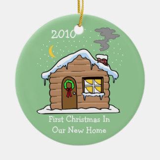 Primer navidad en nuestro nuevo hogar 2010 adorno redondo de cerámica