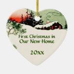 Primer navidad en nuevo corazón de la cabina del ornamentos de reyes