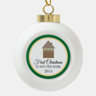 Primer navidad en nuevo hogar adorno de cerámica en forma de bola