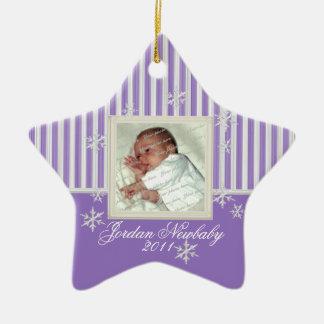 Primer navidad estrella y copos de nieve púrpuras adorno