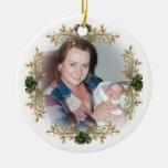 ¡Primer navidad que es una abuela!  Ornamento Adorno Redondo De Cerámica
