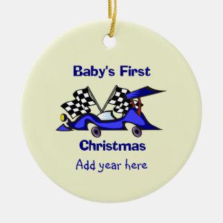 Primer navidad Racecar de Babys Adorno Navideño Redondo De Cerámica