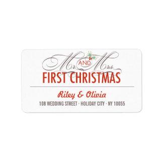 Primer navidad Sr. y etiquetas de dirección de señ