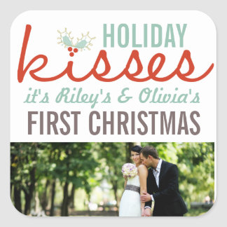 Primer navidad Sr. y señora Holiday Kisses Gift Colcomanias Cuadradas Personalizadas