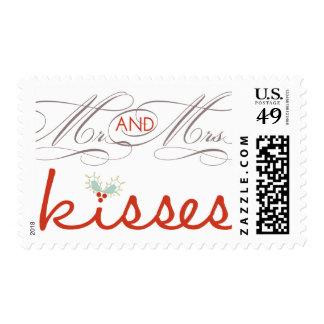 Primer navidad Sr. y señora Holiday Kisses Stamps Sello