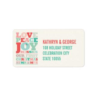 Primer navidad Sr. y señora Holiday Photo Greeting Etiqueta De Dirección