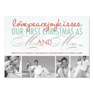 """Primer navidad Sr. y señora Holiday Photo Invitación 4.5"""" X 6.25"""""""