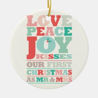 Primer navidad Sr. y señora Holiday Photo Ornament Adorno Para Reyes