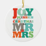 Primer navidad Sr. y señora Holiday Photo Ornament Adorno Redondo De Cerámica