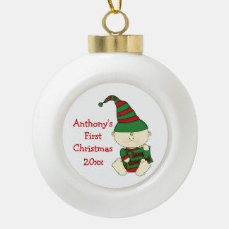 Primer nombre/año del Navidad-Personalizar del Adorno De Cerámica En Forma De Bola