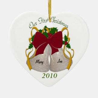 Primer ornamento de Belces de boda del navidad Adorno Navideño De Cerámica En Forma De Corazón