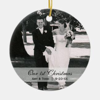 Primer ornamento de encargo de la foto del navidad adorno redondo de cerámica
