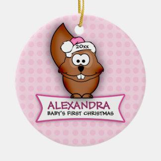 Primer ornamento de la ardilla del navidad del beb adornos de navidad