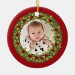 Primer ornamento de la foto de la guirnalda del ornamento para arbol de navidad