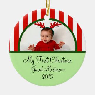 Primer ornamento de la foto del navidad de los beb ornamento de reyes magos