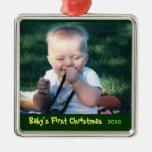 Primer ornamento de la foto del navidad del bebé adorno navideño cuadrado de metal