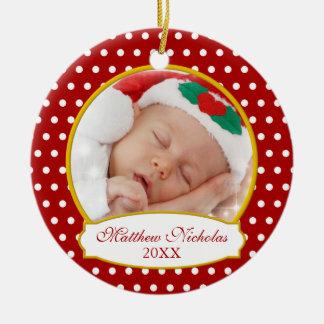 Primer ornamento de la foto del navidad del bebé adorno navideño redondo de cerámica