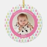 Primer ornamento de la foto del navidad del bebé d ornamentos de navidad