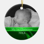 Primer ornamento de la foto del navidad del bebé ornamentos para reyes magos
